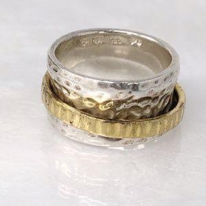 SILPADA 925 14kt Hammered Spinner Ring R1476  Sz 8